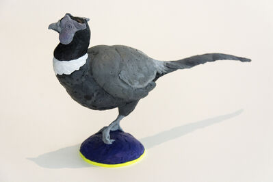Nicholas Crombach, 'Pheasant - small, grey, blue, figurative, bird, cast resin, tabletop sculpture', 2018