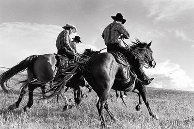 Laura Wilson, 'Hutterite Cowboys Galloping, Surprise Creek Colony Stanford, Montana, July 12, 1996'