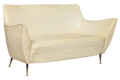 After Gio Ponti, 'Mid-Century White Leather Upholstered Sofa'