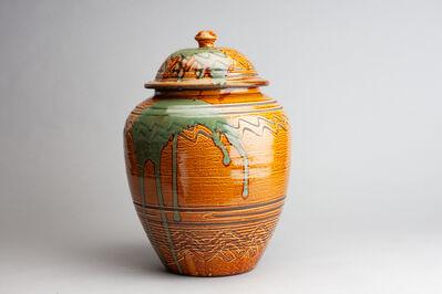 Onda Yaki, 'Jar with Amber Glaze and Yubigaki (Finger Drawn) Design', n/a
