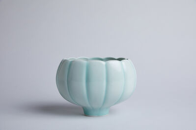 Fance Franck, 'Large oval scalloped bowl, celadon glaze', n/a