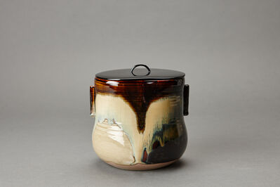 Miraku Kamei XV, 'Water container (mizusashi) with lacquer lid, cylindrical handles, and kakewake', ca. 2016