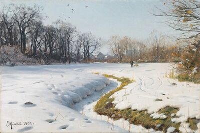 Peder Mork Monsted, 'A Sunny Winter's Day', 1902