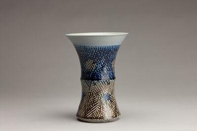Tomoo Hamada, 'Fluted vase, salt glaze with tensue decoration'