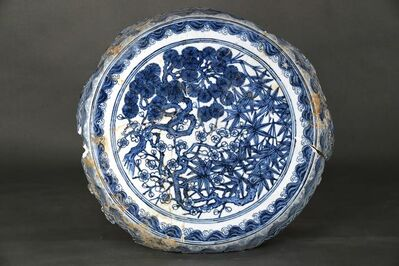 Unknown, 'Garden seat top with pine, bamboo and plum in blue and white', Zhengtong to Tianshun, Ming Dynasty(1436, 1464)