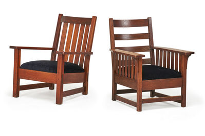 L. & J.G. Stickley, 'Slatted L. & J.G. Stickley armchair and open-arm Stickley Brothers armchair, USA', early 20th C.