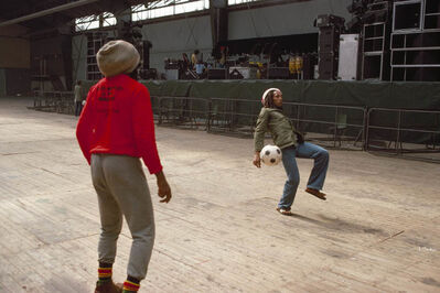 David Burnett, 'Bob Marley and the Wailers play improvised soccer at the stadium in Brussels #1, during the Exodus Tour, Belgium', 1977