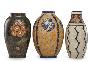 Charles Catteau, 'Three Art Deco Grès Keramis vases with stylized flowers and plants'