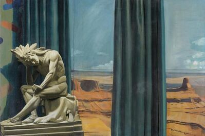 Mark Beard, 'Western Panorama with Sculpture of Native American Warrior.', 1982