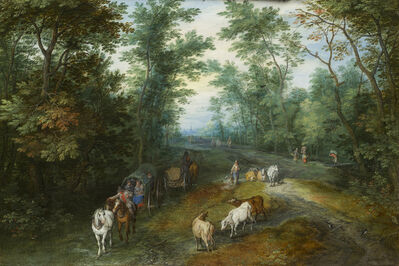Jan Brueghel the Elder, 'Landscape with Travellers on a Country Road', 1611