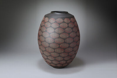 Maeda Hideo, 'Flower vessel with  color inlay and line design', 2012