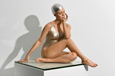Carole A. Feuerman, 'Table-Top Contemplation 3/8 - hyperrealism, female swimmer, cast resin sculpture', 2020
