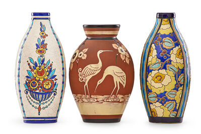 Charles Catteau, 'Three Art Deco vases with stylized floral designs'