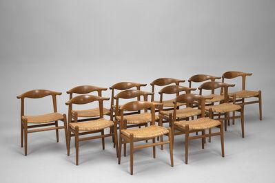 Hans J. Wegner, 'Set of Twelve 'Cowhorn' Chairs, Model no. JH 505', ca. 1950