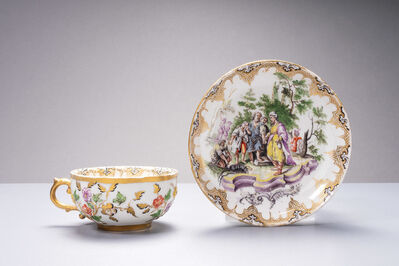 Nymphenburg Porcelain Manufactory, 'Tea cup and saucer with relief decoration, painted with a biblical scene', 1755