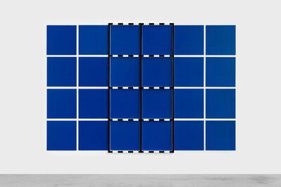 Daniel Buren, '(Sans titre) 2 Châssis noir sur dispositif bleu et blanc', 2005