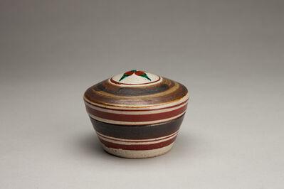 Shinsaku Hamada, 'Lidded box, salt glaze with hakeme and akae decoration'