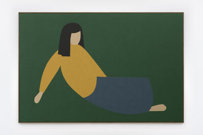 Antonio Ballester Moreno, ' Woman Lying on the Grass (Blue Skirt)', 2020