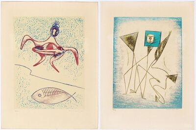 Max Ernst, '2 sheets: From: Pierre Hebey. Festin.', 1974