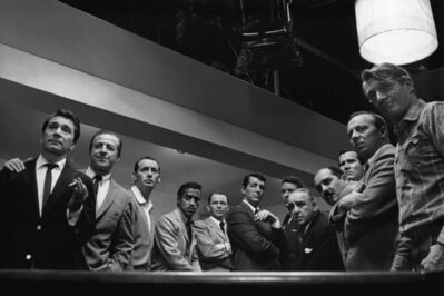 """Sid Avery, 'Cast of """"Ocean's 11"""" (from left to right - Nick Conti, Jerry Lester, Joey Bishop, Sammy Davis, Jr., Frank Sinatra, Dean Martin, Peter Lawford, Akim Tameroff, Richard Benedict, Henry Silva, Norman Fell, and Clem Harvey)', 1960"""
