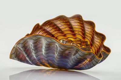 Dale Chihuly, 'Dale Chihuly Original Violet Gray Two Piece Persian Set with Indian Yellow Lip Wraps Original Handblown Contemporary Glass Art', 1992