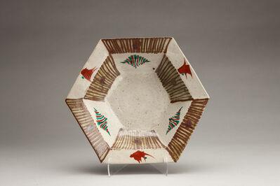 Tomoo Hamada, 'Hexagonal dish, ji glaze with akae and hakeme decoration'