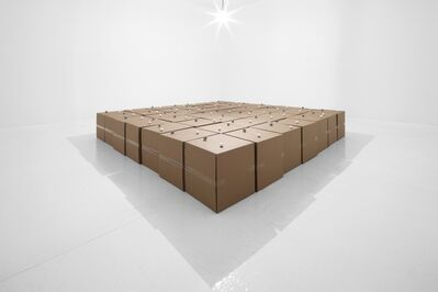 Zimoun, '49 prepared dc-motors, cotton balls, cardboard boxes 51x51x51 cm', 2011