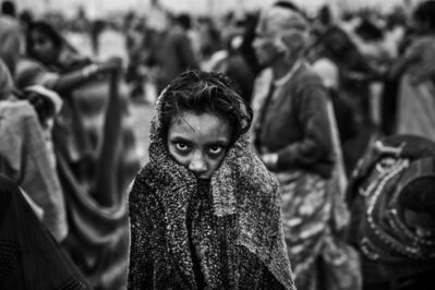 Ziv Koren, 'Allahabad, India Feb. 2013 - Hindu girl drying off after a holy dip at Sangam, the confluence of the holy rivers Ganga, Yamuna and the mythical Saraswati, during the Kumbh Mela festival.', 2013