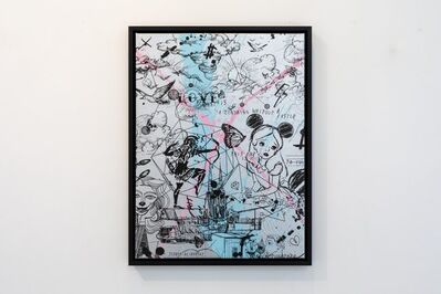 Joseph Klibansky, 'Behind the Clouds Silver/Black and Light Blue and Pink Splash', 2020