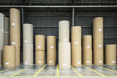Paul Bulteel, 'Rolls of paper entirely produced from recovered cardboard and paper, ready to be transformed into corrugated cardboard or other packaging material. Paper  ber can be recycled this way up to seven times.', 2015
