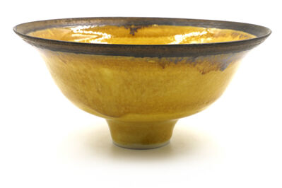 Lucie Rie, 'Lucie Rie Rare Uranium Yellow Glaze with Bronze Slip Rim', 1950-1960