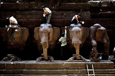 Santosh Verma, 'Washing Elephant Sculptures', ND