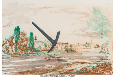 Claes Oldenburg, 'Pickaxe (Spitzhacke) Superimposed on a Drawing of the Site by E.L. Grimm', 1982