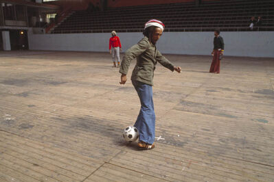 David Burnett, 'Bob Marley and the Wailers play improvised soccer at the stadium in Brussels #2, during the Exodus Tour, Belgium', 1977