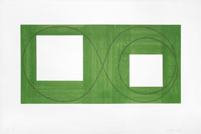 Robert Mangold (b.1937), 'Two Open Squares Within a Green Area', 2017