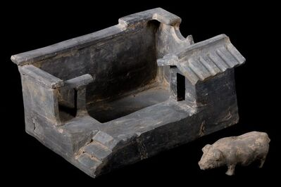 Han Dynasty, 'Terracotta Model of Farm Stead with Pig', 206 BCE-220
