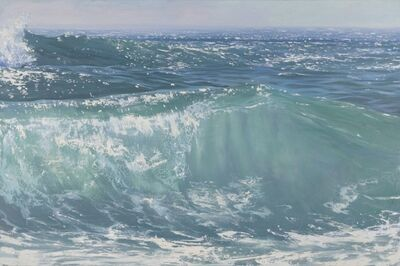 """Annie Wildey, '""""Here Comes the Sun II"""" oil painting of rolling green blue waves', 2020"""
