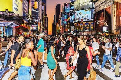 Mitchell Funk, 'Crossing the Street. Times Square, New York City', 2019