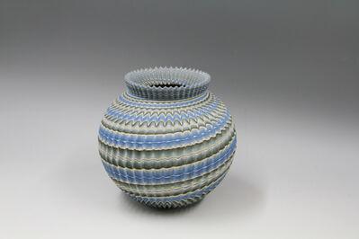 Ogata Kamio, 'Ridged Neriage (marbleized) pot', 2017