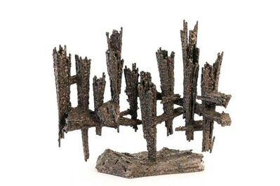 David Palombo, 'Heavy Hand Forged Brutalist Iron Memorial Menorah Sculpture', Mid-20th Century