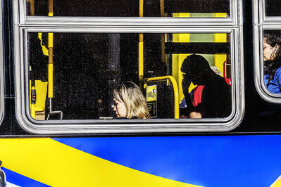Mitchell Funk, 'Urban Isolation. New York City Bus', Urban Bus Scene of Personal Isolation
