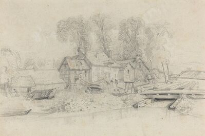 Eugène Boudin, 'River Landscape with Buildings, Boats, and Figures', ca. 1858