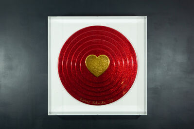 Peter Blake, 'Heart Target in Red and Gold', 2017