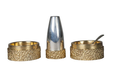 A Mappin & Webb, 'three piece silver and silver gilt Modernist cruet set, Birmingham c.1979'