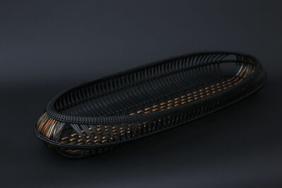 Matsumoto Hafū, 'Kushime ( the teeth of a comb ) pattern bamboo tray 'Ginryü ( Silver Flow )'', 2017