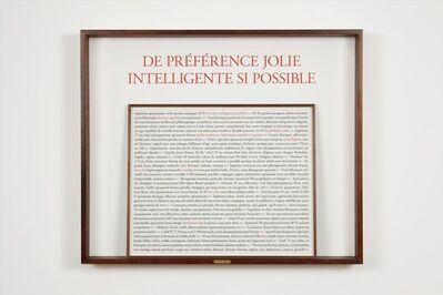 Sophie Calle, 'De préférence jolie Intelligente si possible', 2017