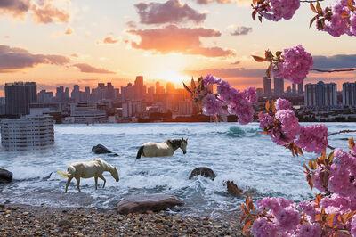 Isack Kousnsky, 'Sunset Skyline with Horses', 2014