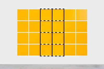 Daniel Buren, '(Sans titre) 3 Châssis noir sur dispositif jaune et blanc', 2005