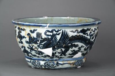 Unknown, 'Flower pot with winged dragons and cloud in blue and white', Zhengtong to Tianshun, Ming Dynasty(1436, 1464)