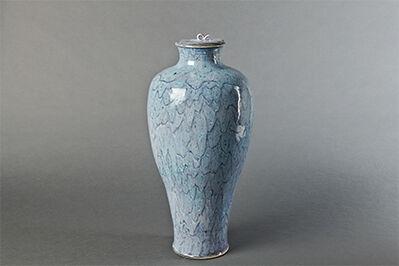 Brother Thomas Bezanson, 'Vase with lid, blue chrysanthemum glaze'